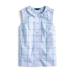 J.Crew Pleated Ruffle Trim Windowpane Button Down